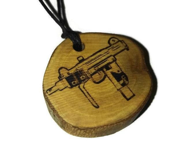 Bespoke Uzi Submachine Gun  Necklace Wood Pendant Rustic Unique Wooden Charm Choker Jewellery Keyring Scented Gift