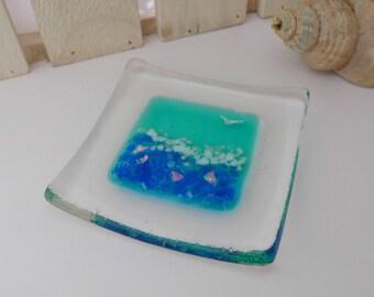 Beach decor - beach dish - fused glass sea dish - glass ring dish. glass jewellery dish. glass ring dish