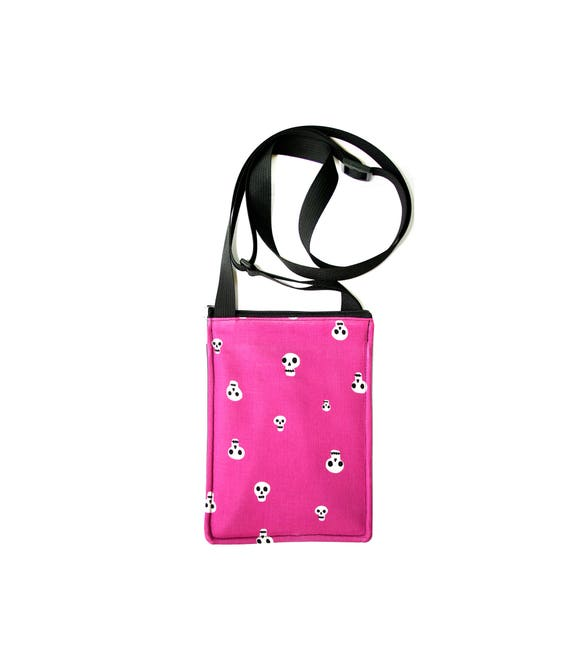 SALE! skulls, hot pink, Halloween, small cross body, vegan leather, zipper top, passport bag, adjustable strap