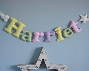 Personalised felt name bunting - name garland - star bunting - personalised bunting - handmade - baby decor - nursery decor - MADE TO ORDER