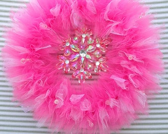 Snowflake Wreath, Pink Snowflake Wreath, Winter Wreath, Pink Winter Wreath, Tutu Wreath, Princess Wreath, Pink Tulle Wreath, Tulle Wreath
