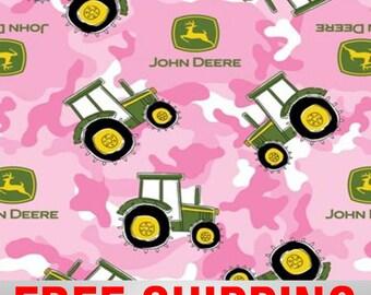 "Fleece Fabric Tractor John Deere Anti Pill 60"" Wide Free Shipping Style 54820"