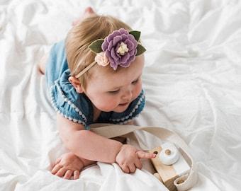 Girl's floral nylon headband - purple pink - floral headband - Wisteria