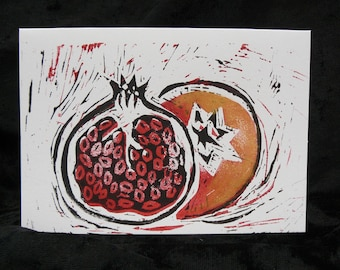 Lino Print Greetings Card - Pomegranate Design