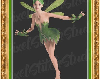 Green Fairy, Forest Sprite, Impish Pixie, Lovely Lady Instant Digital Download Counted Cross Stitch Pattern