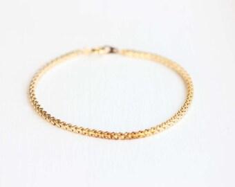 Gold Chain Bracelet, Block Chain Bracelet, Delicate Gold Bracelet, Square Gold Bracelet, Layering Chain Bracelet, Simple Gold Bracelet