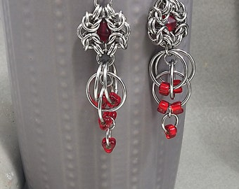 Chain Mail Stainless Steel Earrings ,Red Glass Romanow weave Chainmaille