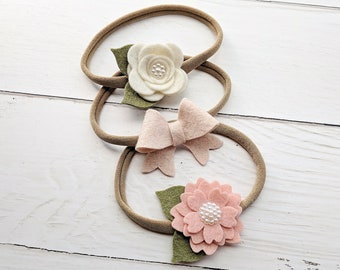 Felt Headband Set,Newborn Headband Set,Blush Pink Ivory,Felt Flower Headband,Baby Headband Set,Infant Headbands,Gift for Baby Girl