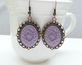 nd-Vintage Style Oval Copper and Lavender Rose Cameo Dangle Earrings