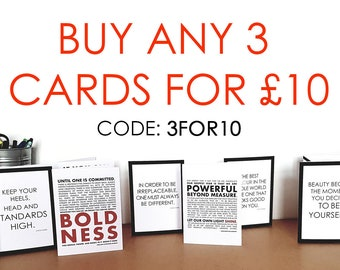 COUPON: Buy any 3 cards for 10 Pounds