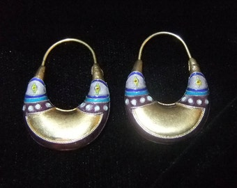 Early Laurel Burch Enamel over Silver Earrings, 1970s