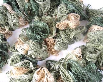 33% OFF SALE - Crochet Ruffle Fashion Scarf - Ruffle Scarf - Crochet Scarf - Lace Scarf - Double Layered Scarf - Jungle Green