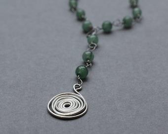 Semi Precious Adventurine Gemstone Bead Necklace with 925 Sterling Silver Wirework Spiral
