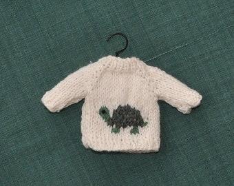 Turtle Hand-Knit Sweater Ornament   Tortoise