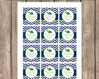 Sea turtle favor tags, chevron favor tags, lime green and navy favor tags, st1 INSTANT DOWNLOAD