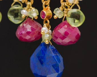 18K Solid Gold Chandelier Earrings with Lapis, Ruby, Peridot and Pearls