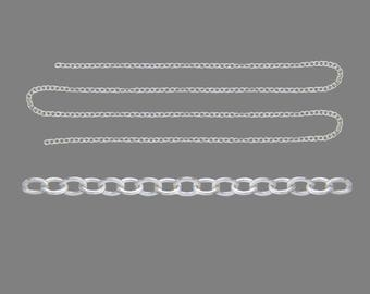 Clear 3 meter length of silver metal chain links 2, 5 x 2 x 0, 45mm - free shipping