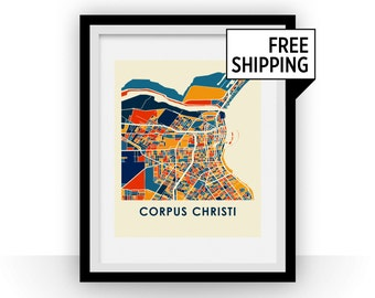 Corpus Christi Map Print - Full Color Map Poster