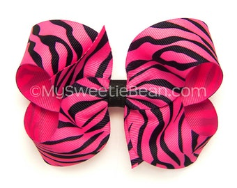 Hot Pink Zebra Bow, 4 inch Boutique Bow, Bright Pink Animal Print Bow for Girls, Jungle Hair Bow for Toddlers, Big Baby Bow, Little Girls