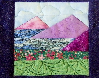 Mountain Scene Quilted Wall Hanging; Blue, Purple, Green Quilted Picture