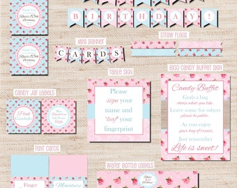 Custom Vintage Shabby Chic Rose Party Decorations, Printables, Digital Files