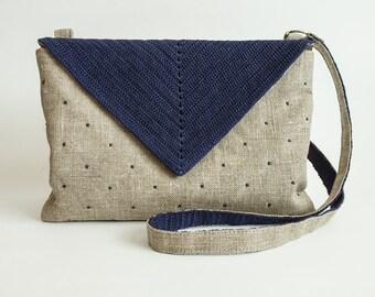 Crossbody bag Linen bag Burlap crossbody bag
