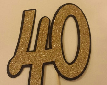 Fourty 40th  Birthday Party age or Anniversary cake topper You choose colors