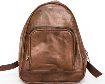 Small Leather Urban Backpack (Coco Brown)