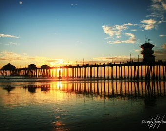 California Sunset - Huntington Beach Pier at Sunset, Beach Photograph, Sunset photo, Beach Decor, California Sunset, Wall Art, Surfer Gift