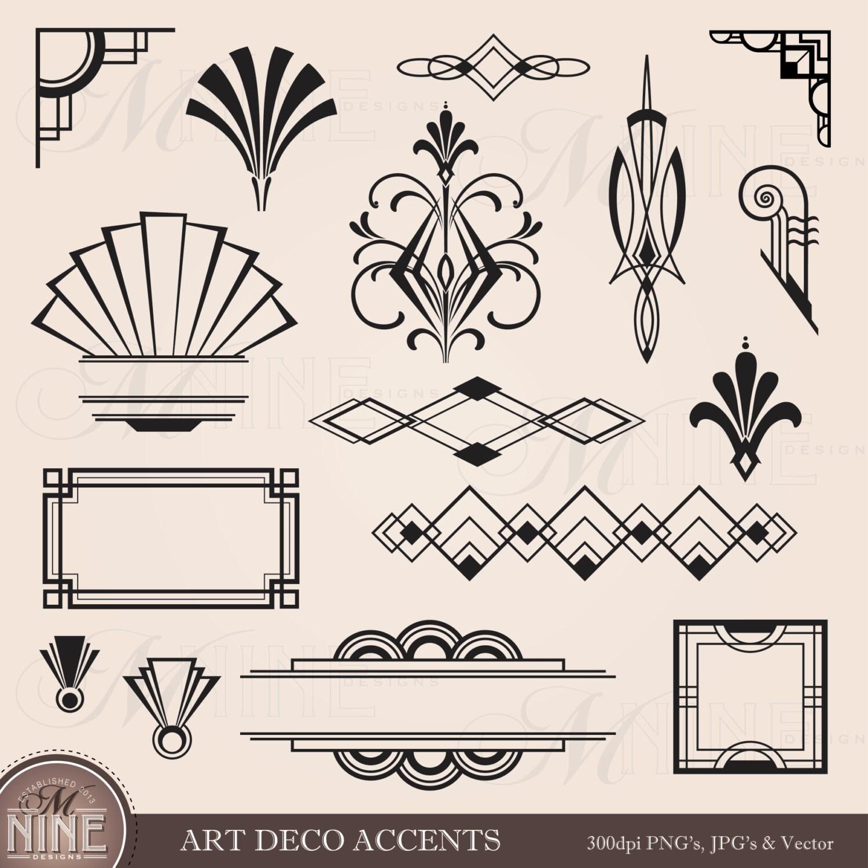 Digital Clipart ART DECO Design Elements Frames / Borders /