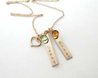 Personalized Gold Bar Necklace - Custom Birthstone Jewelry - Kids Names - Personalized Jewelry - Mothers - Kids Name -Heart - Son - Daughter