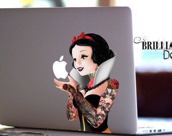 Snow White Decal,Tattoo Snow White, Punk Snow White, Macbook Decal, Snow White Sticker, Snow White MacBook Sticker, MacBook, Gift, Geekery
