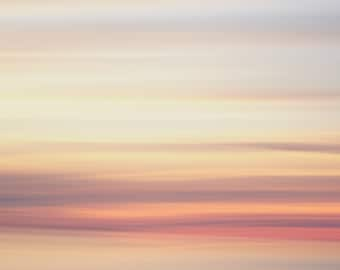 Striped abstract sunrise sky photograph. Oversized pastel coastal print. Colorful wall art for kitchen. Birthday gift for morning person.