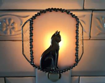 Stained Glass Nightlight|Cat Nightlight|Kitty Cat Nightlight|White Iridescent|Night Lights|Handcrafted by Anne Malone|Made in America