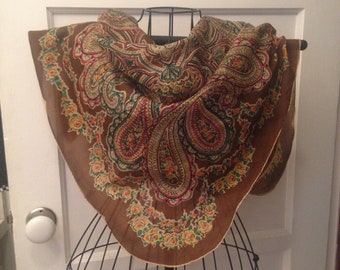 Pure Silk Paisley Scarf Made In Occupied Japan--Hand Rolled, Scalloped Edges--Brown, Greens, Orange, Rose--Vintage Accessories