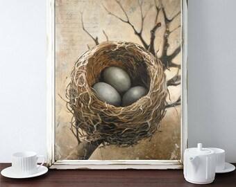 Nest Art, Nest Print, Bird Nest Art Print, Art Print of a Bird Nest with Three Eggs, Bird Eggs in a Nest Print, Prints to Frame, Birds Nest