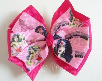Pink Superhero Bow - Pinwheel Style - No Slip Velvet Grip Hair Clip