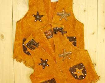 Vintage 1960's/70's Children's Brown Suede Fringe Western Vests / Colorado Sheriff / Matching Set / Retro Collectible Rare
