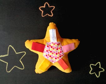Softie tag toy, soft stuffed star, polka dot ribbon toy, cotton corduroy, yellow orange red pink labels, star baby shower, newborn softie