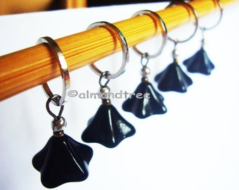 5 Black Flowers knitting stitch markers, snag free accessories, id1360889, snagless, stitchmarkers, pattern aides, yarn markers