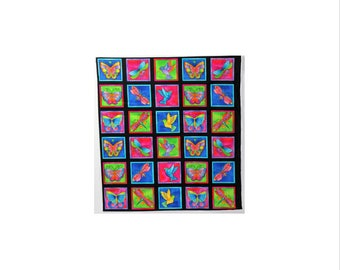 Laurel Burch Oop FLYING COLORS II Fabric Panel Black Background 30 Blocks 22 X 24