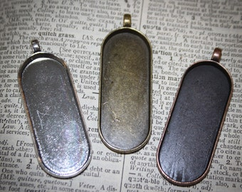 6 Necklace Pendant oval blanks for jewelry making  (45 mm x 18 mm) for Photos, altered Art  SALE - Antique Silver, Copper,  Bronze Vertical