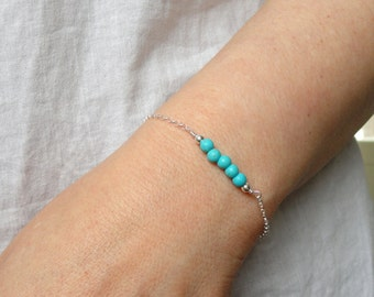 Sterling Silver turquoise bracelet, Turquoise bracelet, Silver bracelet, Gemstone bracelet, December birthstone bracelet, Gifts