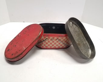 Vintage Antique  Metal Lunch Box, Pressed steel Box, Red and white Checkered, Primitive Rustic, Metal Lunch Box, Tin Lunch box