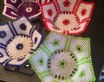 Beautifully Hand crafted beads bowls .  Table centerpiece for fruits, ornaments or anything you may choose to utilize it