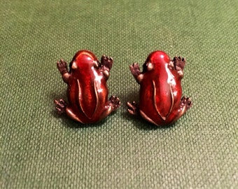 Burnt-Orange Frog Earrings