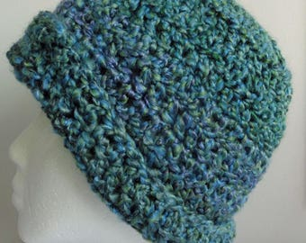 Blue Beanie Blue Crocheted Beanie Blue Crocheted Hat Blue Crocheted Beanie