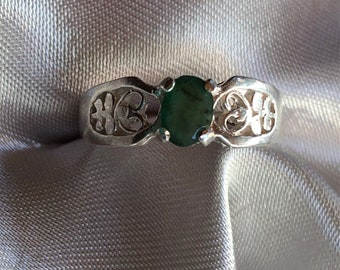 Natural Emerald and Sterling Silver Ring