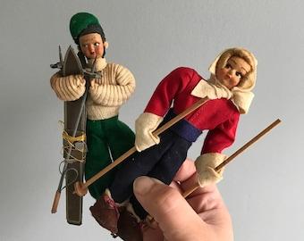 Italian Skiing Dolls / Vintage Italian Dolls / Paper Mache Polls