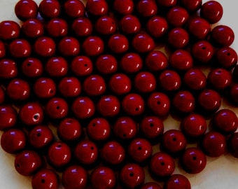 25 8mm Czech Opaque Blood Red smooth round druk beads, deep red glass beads C5625